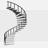 与黑扶手栏杆传染媒介的被隔绝的圆楼梯 向量例证