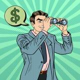 与寻找金钱的双筒望远镜的流行艺术商人 免版税库存图片