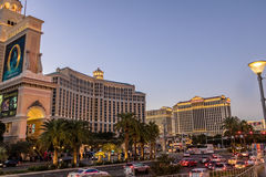 与贝拉焦和凯撒宫旅馆和赌博娱乐场-拉斯维加斯,内华达,美国的小条 免版税库存照片