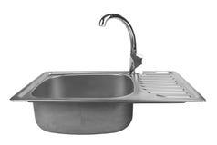 与轻拍的厨房水槽 免版税图库摄影