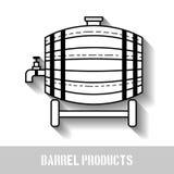 与轻拍的啤酒木桶 线性,黑白,平的象,与阴影的对象 库存例证