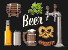 与轻拍,类的啤酒集合,能,瓶、桶、香肠、椒盐脆饼和蛇麻草 库存例证