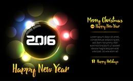 与2016文本的新年快乐球 新年卡片2016年 圣诞快乐庆祝的美丽的装饰发光的Xmas球 库存例证