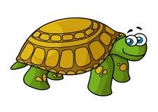 与黄斑的绿色动画片乌龟 免版税库存照片