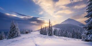 与黎明的冬天风景在山 免版税库存照片