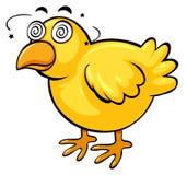 与头昏眼花的面孔的小的鸡 库存例证