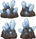 与水晶的岩石 库存例证
