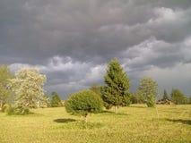 与黑暗的云彩的天空在树和房子 库存照片