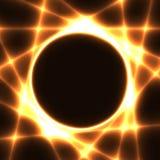 与黑暗的圈子和激光束的金模板 皇族释放例证
