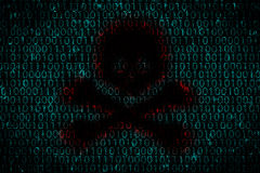 与黑暗的孔的数字式背景塑造了作为头骨在中心 黑客攻击的概念对个人数据的由病毒 免版税图库摄影