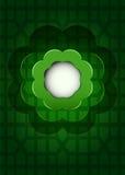 与黑暗的开花云彩传染媒介的绿色几何栅格 免版税图库摄影