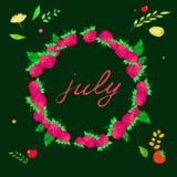 与7月字法的图象的例证在莓框架的  免版税图库摄影