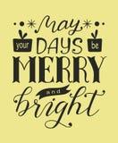 与5月手拉的字法的圣诞快乐海报您的天是快活和明亮的 免版税库存图片