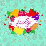 与7月标签的图象的例证在果子和莓果框架的  免版税图库摄影