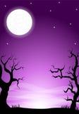 与满月的令人毛骨悚然的万圣夜夜背景 库存图片