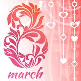 与3月的8日贺卡 与漩涡和花卉元素的装饰字体 库存例证