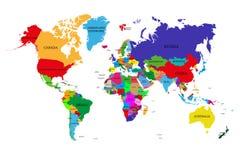 与主权国家和更大的依赖疆土的名字的色的政治世界地图 每个国家的不同的颜色 向量例证