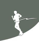 与结束条纹的纸赛跑者剪影 免版税库存图片