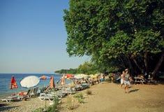 与轻松的人、伞和土耳其国家公园大绿色树的晴朗的海滩  库存图片