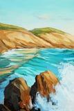 与绿松石波浪的地中海风景 向量例证
