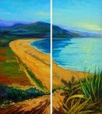 与绿松石波浪的地中海风景 皇族释放例证