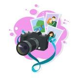 与绿松石皮带的黑照片照相机 免版税库存图片