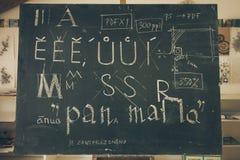 与黑板的印刷术教训有手写的白垩信件的 免版税库存图片