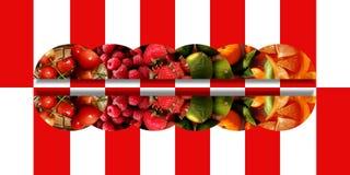 与水果的纹理的水平的被反映的半圆 皇族释放例证