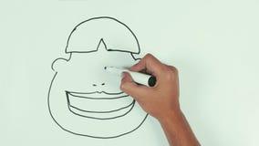 与黑标志的人速度凹道rasist亚洲面孔讽刺画在whiteboard 股票视频