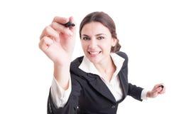 与黑标志的微笑的女商人文字在透明 免版税库存图片
