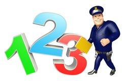 与123标志的警察 免版税库存照片