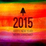 与2015标签和文本的圣诞树象 免版税库存照片