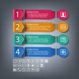 与4步,选择的纸infographic横幅 皇族释放例证