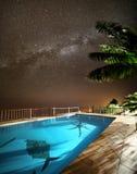 与水池的热带目的地在晚上 库存图片