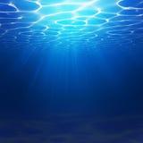 与水波的抽象水下的背景例证 蓝色地狱现实背景 海洋或海底