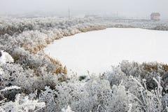 与冻湖和雾的冬天风景 免版税图库摄影