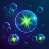 与绿灯的蓝色发光的宇宙泡影 免版税库存图片