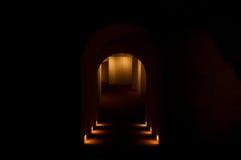 与黄灯的黑暗的洞 免版税库存图片