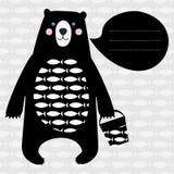 与黑熊的卡片 免版税库存照片