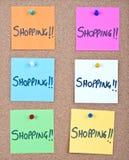 与购物的便条纸拼贴画 库存图片