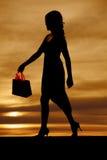 与购物袋的妇女剪影 库存图片