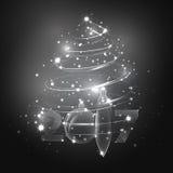 与玻璃圣诞节球的抽象白色圣诞节树 库存图片