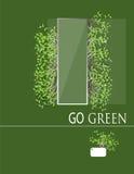 与玻璃框架传染媒介的绿色菜 库存照片