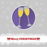 与玻璃的圣诞卡模板 库存图片