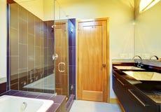 与玻璃的樱桃棕色卫生间内部筛选了阵雨,客舱 库存图片