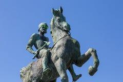 与玻璃的马雕象 免版税库存照片