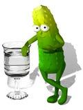 与玻璃的黄瓜 库存图片