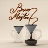 与玻璃3D翻译的酿造主要咖啡行情 免版税库存照片