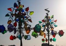 与玻璃decorationes的装饰树 库存图片