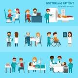 与医生和患者治疗的医疗infographic元素和与医疗保健标志的考试平的图表 库存例证